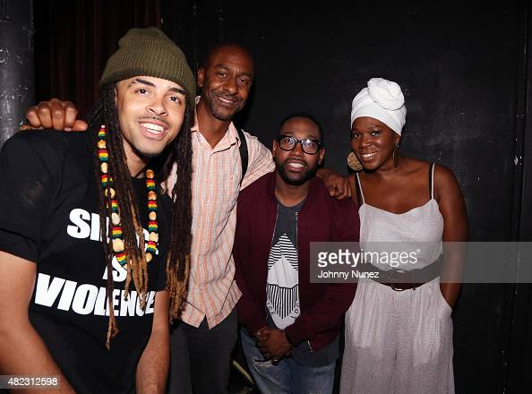 Rapper Dee1 BET executive Stephen Hill musician PJ Morton and singersongwriter/actress IndiaArie backstage at Highline Ballroom on July 29 in New...