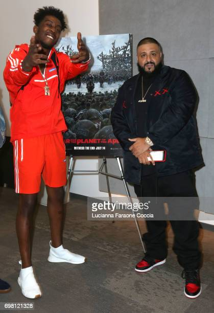Rapper Desiigner and DJ Khaled attend the private screening of 20th Century Fox's 'War For The Planet Of The Apes' for DJ Khaled friends family at...