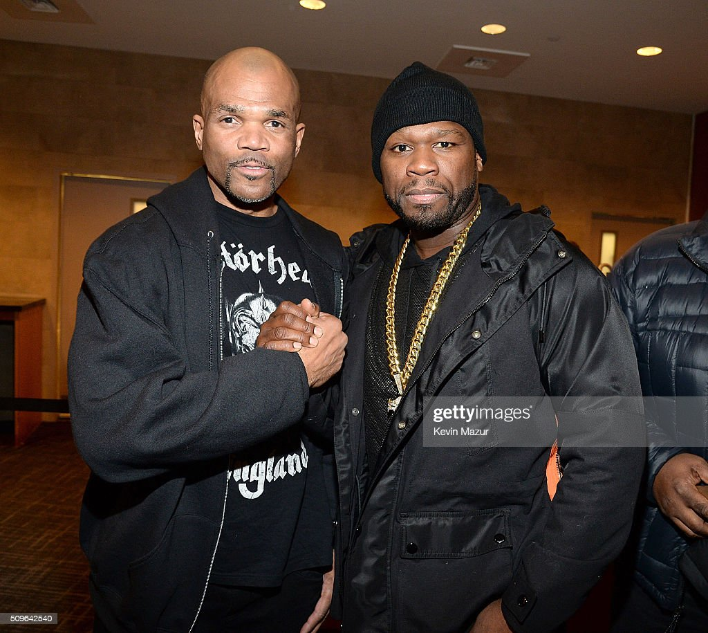 Rapper D.M.C. and <a gi-track='captionPersonalityLinkClicked' href=/galleries/search?phrase=50+Cent+-+Rapper&family=editorial&specificpeople=215363 ng-click='$event.stopPropagation()'>50 Cent</a> attend Kanye West Yeezy Season 3 at Madison Square Garden on February 11, 2016 in New York City.