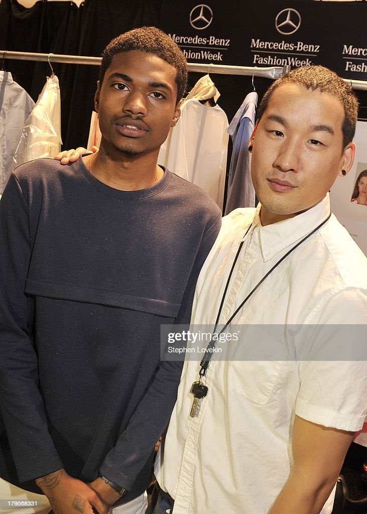 Rapper Dominc Lord (L) and designer Richard Chai pose backstage at the Richard Chai Spring 2014 fashion show during Mercedes-Benz Fashion Week at The Stage at Lincoln Center on September 5, 2013 in New York City.