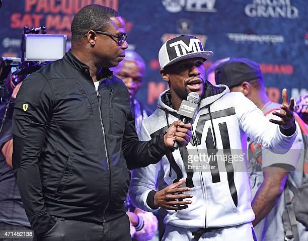 Rapper Doug E Fresh interviews WBC/WBA welterweight champion Floyd Mayweather Jr at MGM Grand Garden Arena on April 28 2015 in Las Vegas Nevada...
