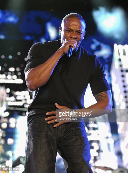 Rapper Dr Dre performs during Day 3 of the 2012 Coachella Valley Music Arts Festival held at the Empire Polo Club on April 15 2012 in Indio California