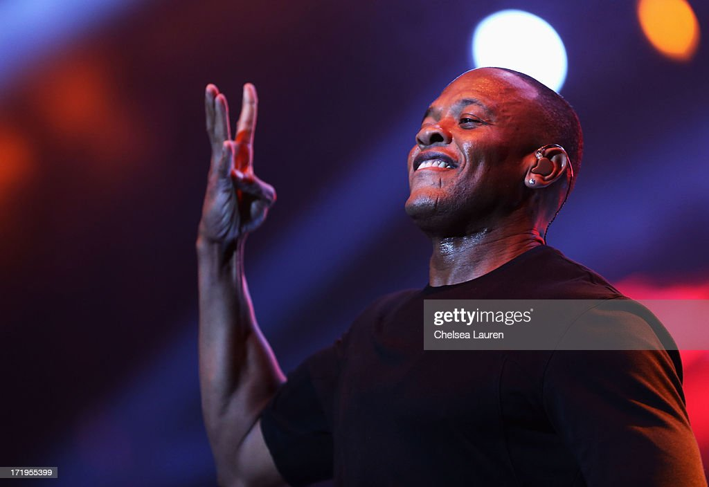 Rapper Dr. Dre performs during the Snoop Dogg, Kendrick Lamar, J.Cole, Miguel and SchoolBoyQ concert during the 2013 BET Experience at Staples Center on June 29, 2013 in Los Angeles, California.