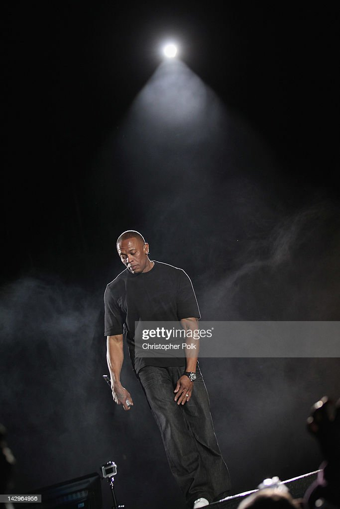 Rapper <a gi-track='captionPersonalityLinkClicked' href=/galleries/search?phrase=Dr.+Dre&family=editorial&specificpeople=211370 ng-click='$event.stopPropagation()'>Dr. Dre</a> performs onstage during day 3 of the 2012 Coachella Valley Music & Arts Festival at the Empire Polo Field on April 15, 2012 in Indio, California.