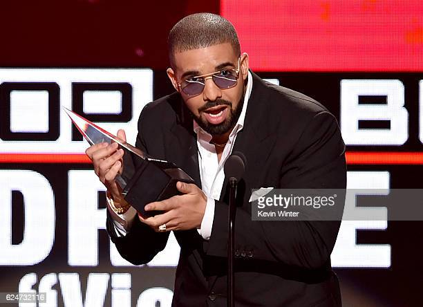 Rapper Drake accepts Favorite Rap/HipHop Album for 'Views' onstage during the 2016 American Music Awards at Microsoft Theater on November 20 2016 in...