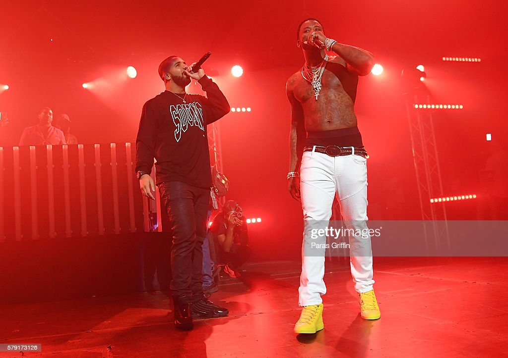 Rapper Drake and Gucci Mane performs on stage at Gucci and Friends Homecoming Concert at Fox Theatre on July 22 2016 in Atlanta Georgia