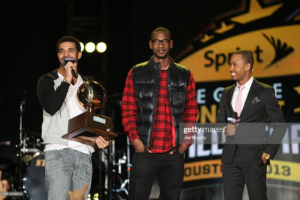 Rapper Drake and Terrance Ross #31 of the Toronto Raptors talks with Television Personality Terrence Jenkins during the Sprint NBA All-Star Pregame Concert in Sprint Arena during the NBA All-Star Weekend on February 17, 2013 at the George R. Brown Convention Center in Houston, Texas.