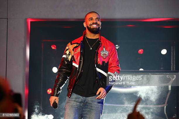 Rapper Drake announces the starting line ups before the NBA AllStar Game as part of 2016 NBA AllStar Weekend on February 14 2016 at the Air Canada...