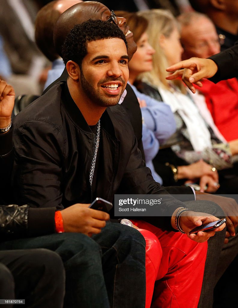 Rapper Drake attends the Foot Locker Three-Point Contest part of 2013 NBA All-Star Weekend at the Toyota Center on February 16, 2013 in Houston, Texas.
