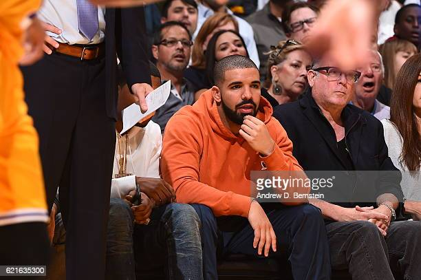 Rapper Drake attends the Golden State Warriors game against the Los Angeles Lakers on November 4 2016 at STAPLES Center in Los Angeles California...