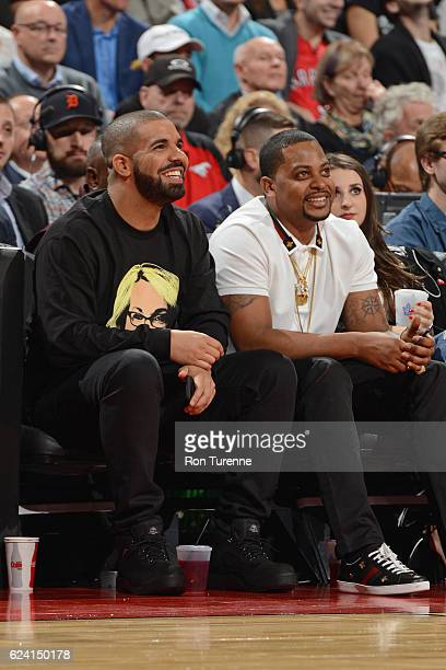 Rapper Drake attends the Golden State Warriors game against the Toronto Raptors on November 16 2016 at the Air Canada Centre in Toronto Ontario...