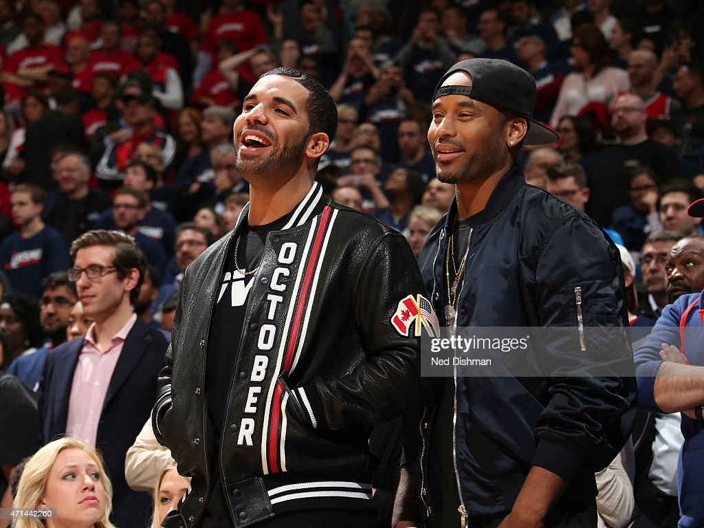 Rapper, Drake, attends the Toronto Raptors and Washington Wizards Game Three of the Eastern Conference Quarterfinals during the 2015 NBA Playoffs on April 24, 2015 at Verizon Center in Washington, DC.