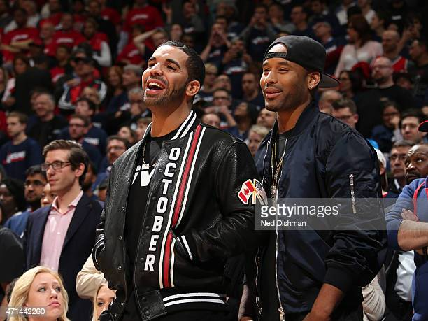 Rapper Drake attends the Toronto Raptors and Washington Wizards Game Three of the Eastern Conference Quarterfinals during the 2015 NBA Playoffs on...