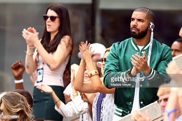 Rapper Drake attends the Women's Singles Semifinals match between Roberta Vinci of Italy and Serena Williams of the United States on Day Twelve of...