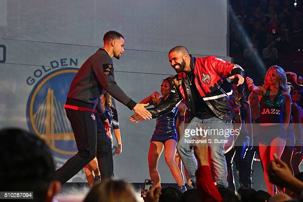 Rapper Drake introduces Stephen Curry of the Western Conference before the NBA AllStar Game as part of 2016 NBA AllStar Weekend on February 14 2016...