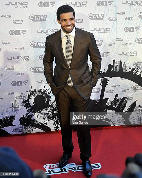 Rapper Drake poses on the red carpet at the 2011 Juno Awards on March 27 2011 in Toronto Canada
