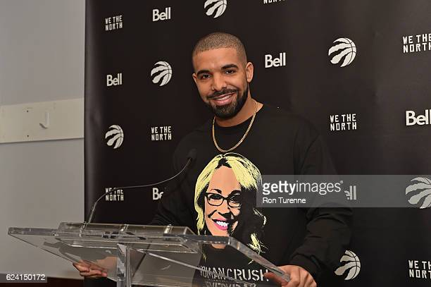 Rapper Drake speaks to the media during a press conference after the Golden State Warriors game against the Toronto Raptors on November 16 2016 at...