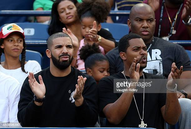 Rapper Drake Spirit Witherspoon and Sade Witherspoon attends the tennis during Day 4 of the Rogers Cup at the Aviva Centre on August 13 2015 in...