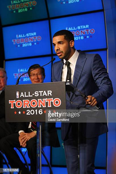 Rapper Drake talks to the media as it was announced the Toronto Raptors will host NBA AllStar 2016 announced during todays press conference at the...