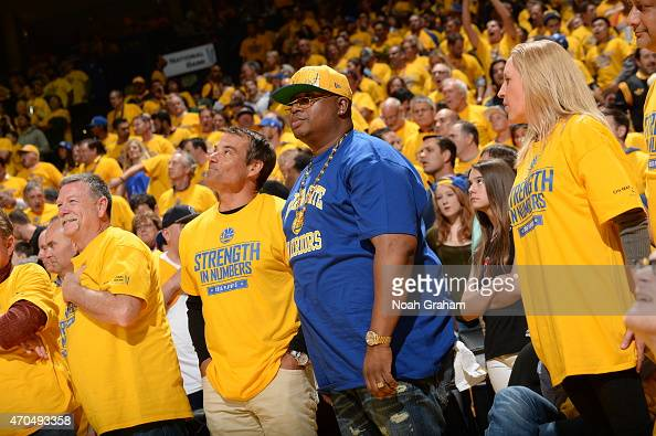 Rapper E40 attends Game Two of the Western Conference Quarterfinals between the Golden State Warriors and the New Orleans Pelicans during the NBA...