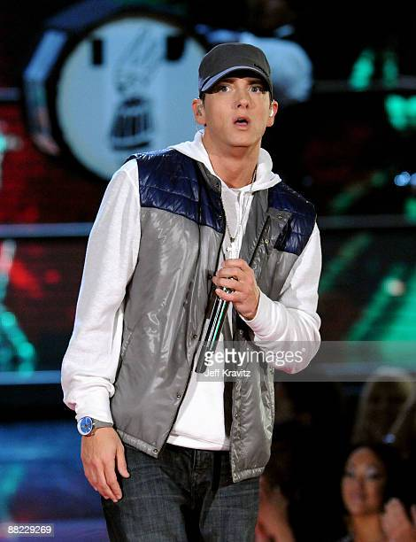Rapper Eminem onstage during the 2009 MTV Movie Awards held at the Gibson Amphitheatre on May 31 2009 in Universal City California