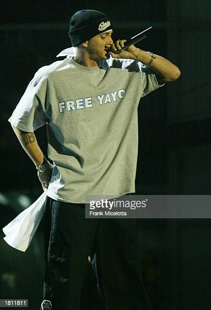 Rapper Eminem performs during the 45th Annual Grammy Awards at Madison Square Garden on February 23 2003 in New York City