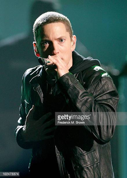 Rapper Eminem performs onstage during the 2010 BET Awards held at the Shrine Auditorium on June 27 2010 in Los Angeles California