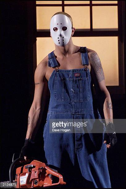 Rapper Eminem rehearses for the Brit Awards at Earls Court on February 26 2001 in London England The rapper's appearance caused outrage with gay...