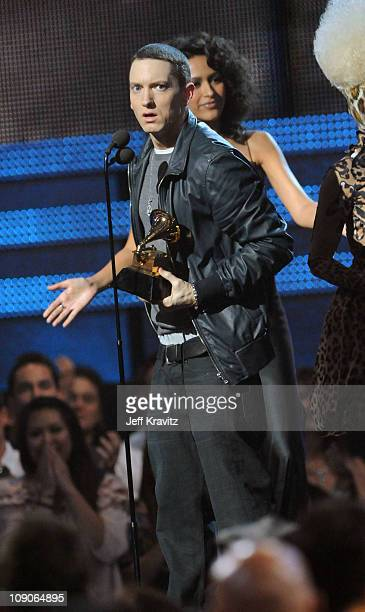 Rapper Eminem speaks onstage during The 53rd Annual GRAMMY Awards held at Staples Center on February 13 2011 in Los Angeles California