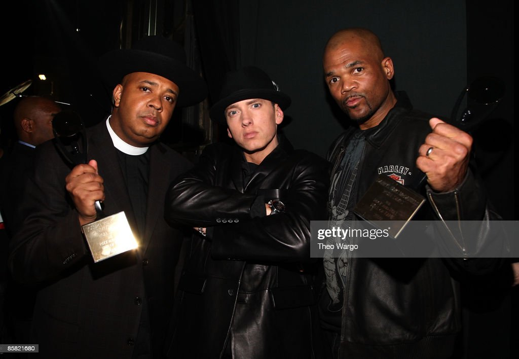 *EXCLUSIVE* Rapper Eminem (C) with Joseph 'Rev. Run' Simmons (L) and Darryl 'D.M.C.' McDaniels attend the 24th Annual Rock and Roll Hall of Fame Induction Ceremony at Public Hall on April 4, 2009 in Cleveland, Ohio.