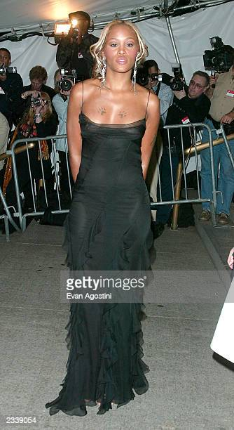 Rapper Eve arrives at the Metropolitan Museum of Art Costume Institute Benefit Gala sponsored by Gucci April 28 2003 at The Metropolitan Museum of...