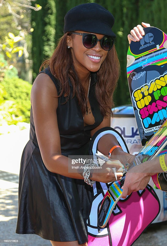 Rapper Eve attends the 10th Annual Stand Up For Skateparks Benefiting The Tony Hawk Foundation on October 5, 2013 in Beverly Hills, California.