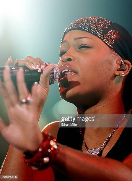 Rapper Eve performs during a soldout show at the Mandalay Bay Events Center during MTV's TRL tour August 31 2001 in Las Vegas Nevada Eve is touring...