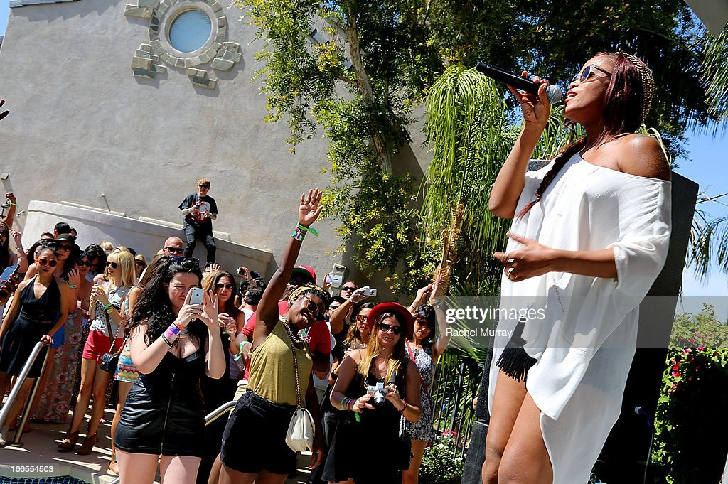 Rapper <a gi-track='captionPersonalityLinkClicked' href=/galleries/search?phrase=Eve+-+Singer&family=editorial&specificpeople=201785 ng-click='$event.stopPropagation()'>Eve</a> performs onstage during NYLON x BOSS ORANGE Escape House - Day 1 at Lake La Quinta Inn on April 13, 2013 in La Quinta, California.