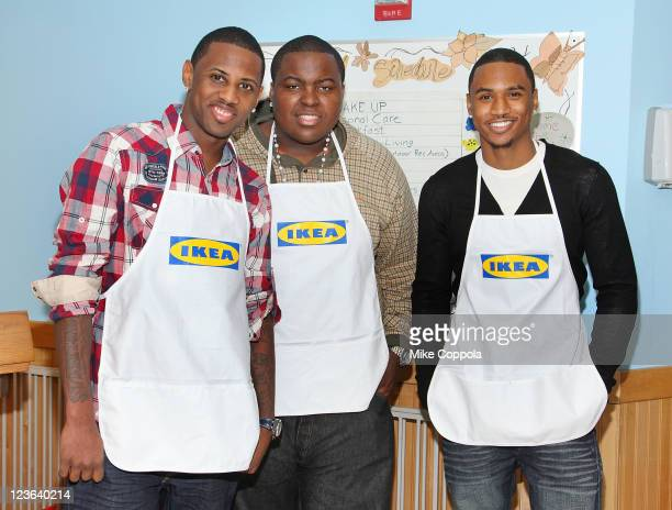 Rapper Faboluous singer Sean Kingston and rapper Trey Songz attend the New Yorkers for Children event at the ACS Children's Center on December 9 2010...