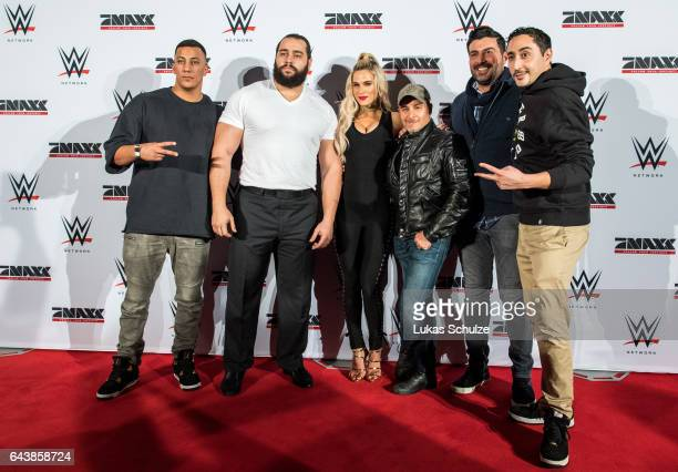 Rapper Farid Bang wrestler Rusev and his wife Lana actor Erdogan Atalay Suekrue Pehlivan and rapper Eko Fresh prior to the WWE Live Duesseldorf event...