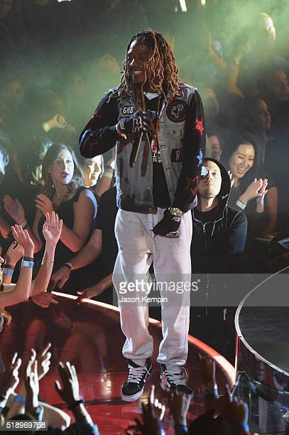 Rapper Fetty Wap performs onstage at the iHeartRadio Music Awards which broadcasted live on TBS TNT AND TRUTV from The Forum on April 3 2016 in...