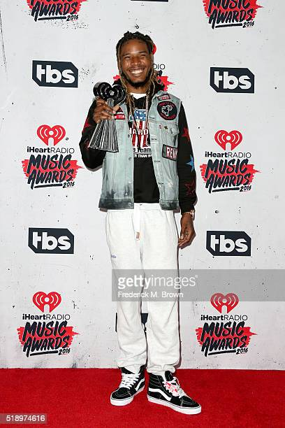 Rapper Fetty Wap winner of Best New Artist poses in the press room during the iHeartRadio Music Awards at The Forum on April 3 2016 in Inglewood...