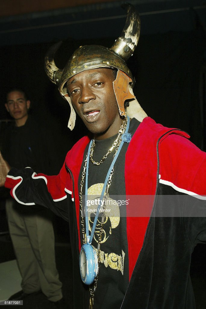 Rapper Flavor Flav arrives at the 9th Annual Multicultural Prism Awards at the Henry Fonda 'Music Box' Theatre on December 17, 2004 in Los Angeles, California.