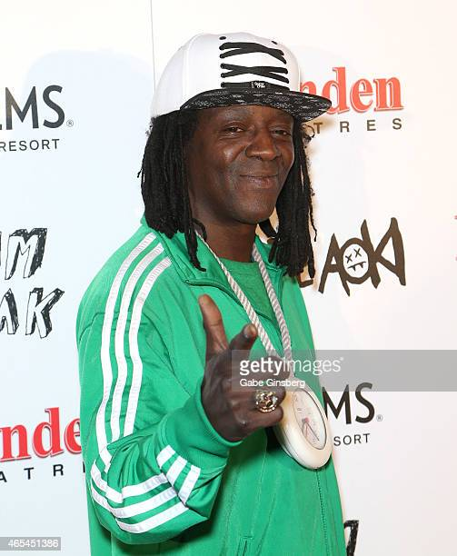 Rapper Flavor Flav attends the Brenden Celebrity Star unveiling honoring Steve Aoki at the Brenden Theatres inside the Palms Casino Resort on March 6...