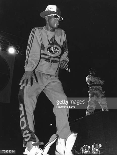 Flavor Flav of the rap group 'Public Enemy' performs onstage in February 1989 in Chicago Illinois