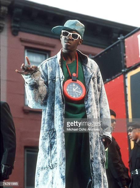 Rapper Flavor Flav of the rap group 'Public Enemy' film a video for their song 'Fight The Power' directed by Spike Lee in 1989 in New York New York