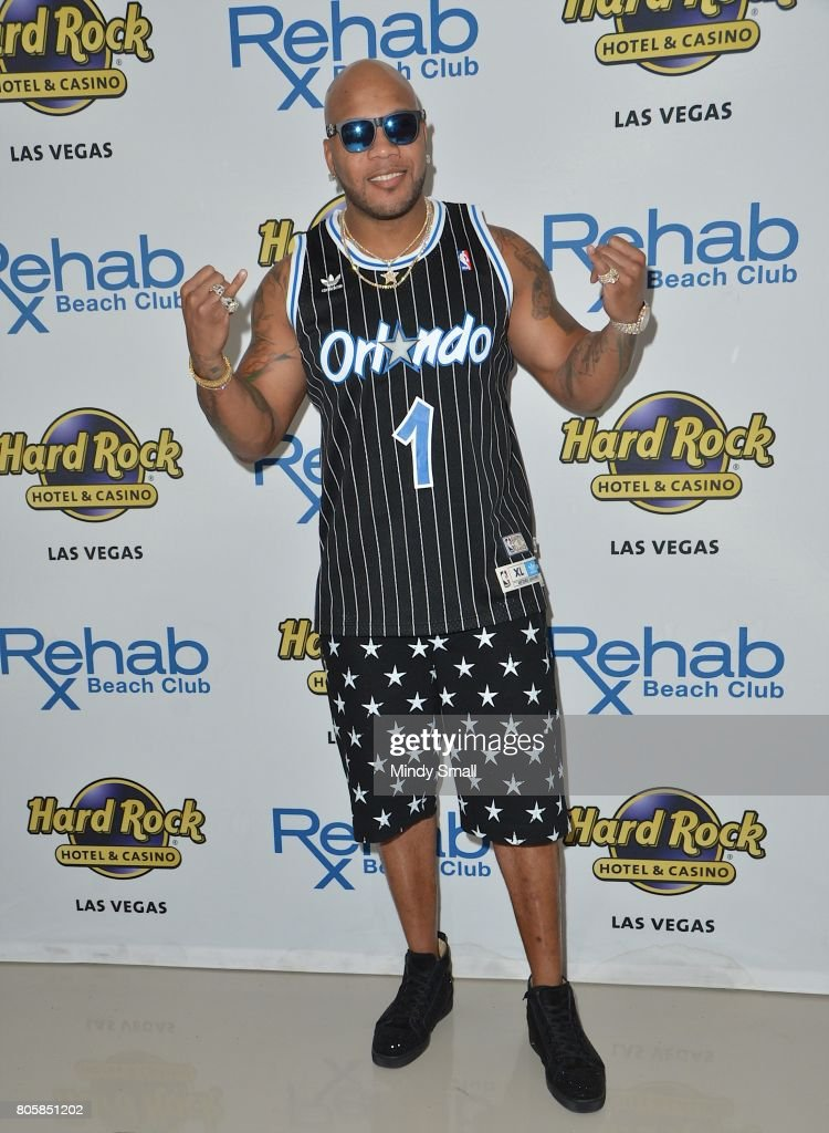 Rapper Flo Rida arrives at the Rehab Beach Club pool party at the Hard Rock Hotel & Casino on July 2, 2017 in Las Vegas, Nevada.