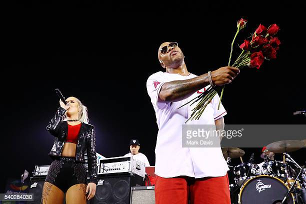 Rapper Flo Rida celebrates the PepsiMoji campaign with a special performance at the Los Angeles Angels Game at Angel Stadium of Anaheim on June 14...