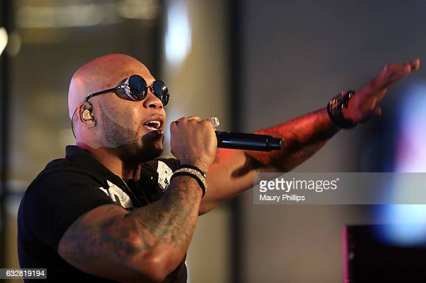 Rapper Flo Rida performs at the Viacom Hollywood Office Grand Opening on January 26 2017 in Los Angeles California