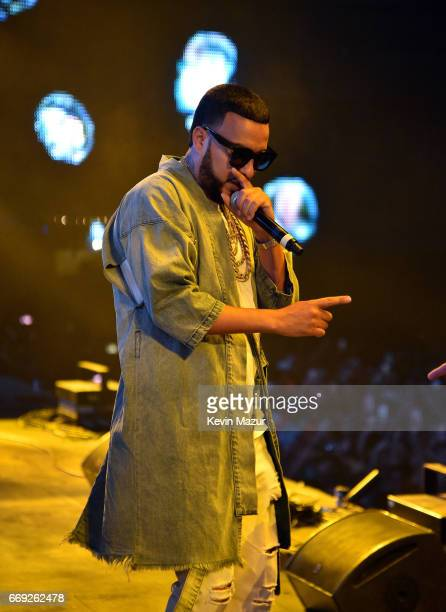 Rapper French Montana performs with DJ Khaled on the Sahara stage during day 3 of the Coachella Valley Music And Arts Festival at the Empire Polo...