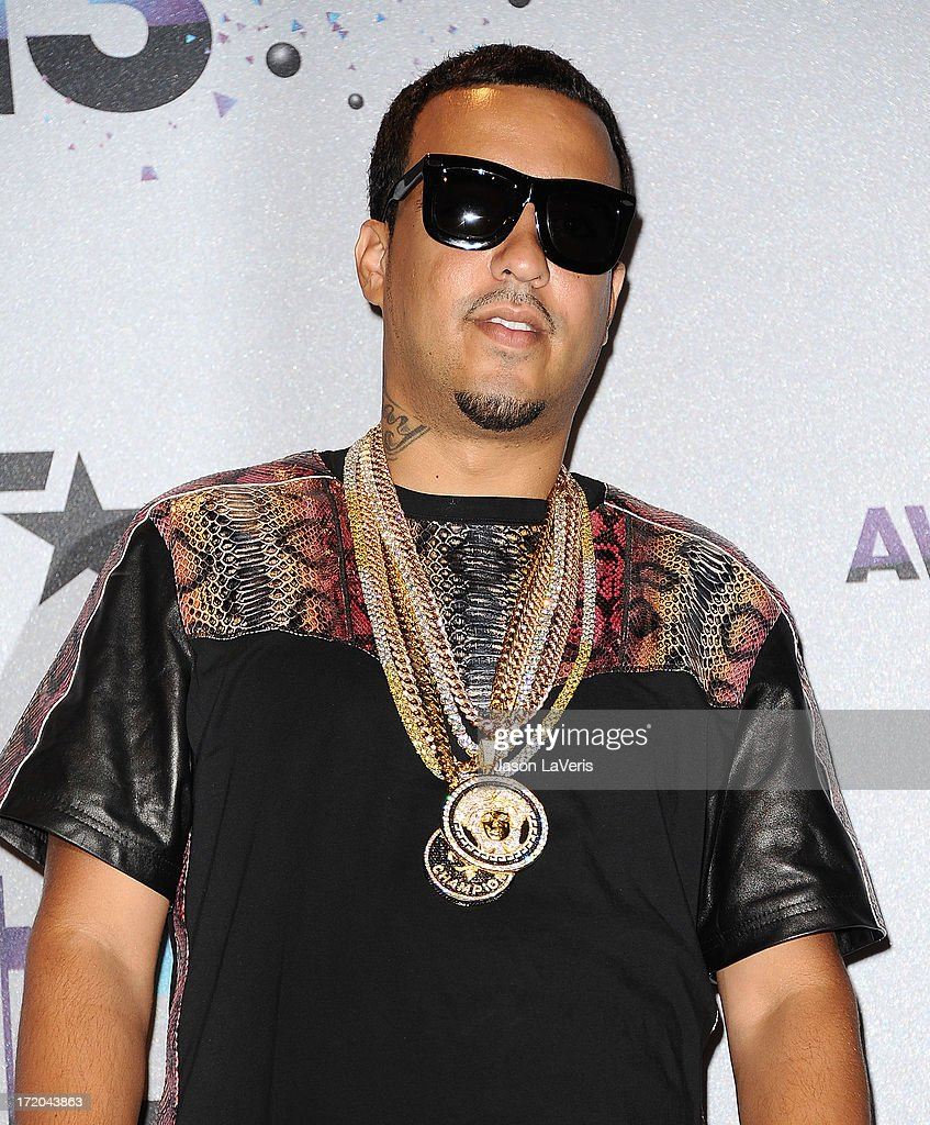 Rapper <a gi-track='captionPersonalityLinkClicked' href=/galleries/search?phrase=French+Montana&family=editorial&specificpeople=7131467 ng-click='$event.stopPropagation()'>French Montana</a> poses in the press room at the 2013 BET Awards at Nokia Theatre L.A. Live on June 30, 2013 in Los Angeles, California.