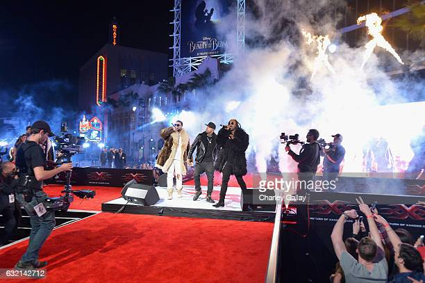 Rapper French Montana singer Nicky Jam and rapper Ty Dolla $ign perform onstage during the LA Premiere of the Paramount Pictures title 'xXx Return of...