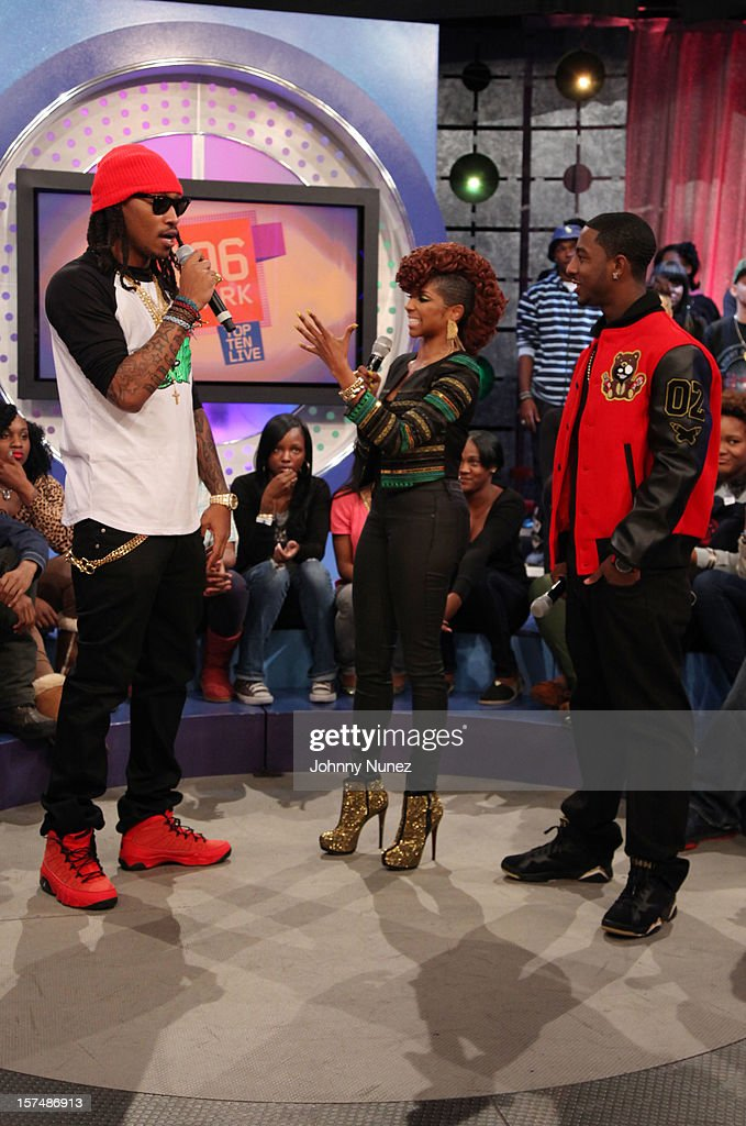 Rapper Future, hosts Miss Mykie and Shorty Da Prince attend 106 & Park Studio on December 3, 2012 in New York City.