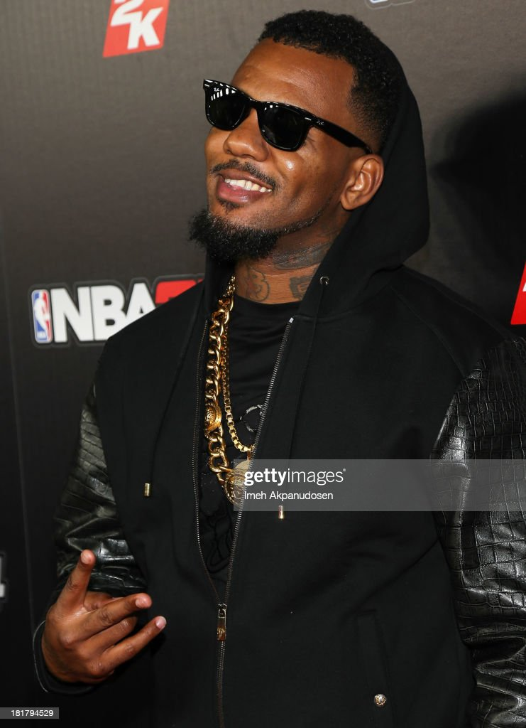 Rapper Game attends the premiere party for the NBA2K14 video game at Greystone Mansion on September 24, 2013 in Beverly Hills, California.
